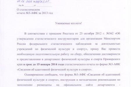 Документы для подготовки сводного статистического отчета №3-АФК за 2013 год